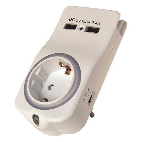 ΑΝΤΑΠΤΟΡΑΣ ΣΟΥΚΟ ΜΕ ΦΩΤΑΚΙ ΝΥΚΤΟΣ,2 USB,ΒΑΣΗ ΚΙΝΗΤΟΥ & ΠΡΟΣΤΑΣΙΑ ΕΠΑΦΩΝ