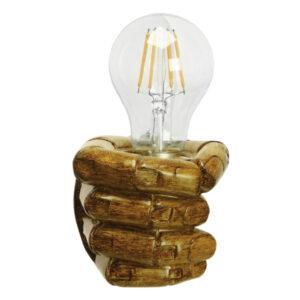 Μοντέρνο Φωτιστικό Τοίχου Απλίκα Μονόφωτο Καφέ Γύψινο GloboStar FIST GOLD 01138