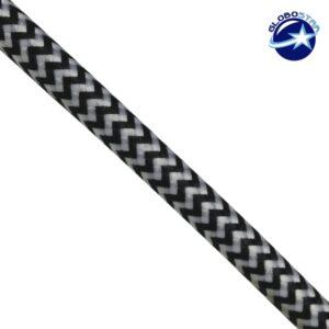Στρογγυλό Υφασμάτινο Καλώδιο 2 x 0.75mm² Dublo Άσπρο Μαύρο GloboStar 80015